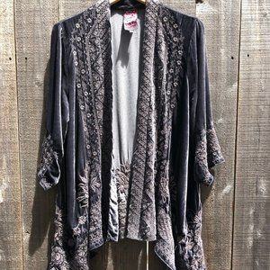Johnny Was Velvet Kimono Jacket - Grey - Gray